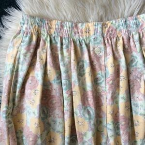 Vintage Skirts - Vintage pastel floral pleated high waisted skirt